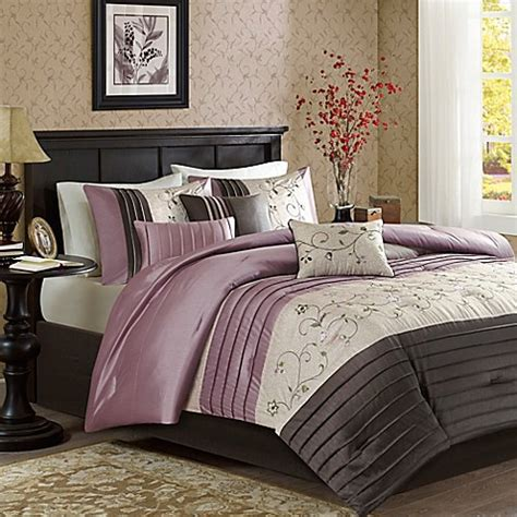 buy park serene 7 comforter set in purple from bed bath beyond - Madison Park Serene 7 Piece Comforter Set