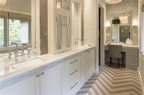 How Thick Is Quartz Countertop by Dual Sink Vanity With Makeup Counter Design Ideas