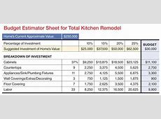 K+B Budget Worksheet Remodeling Kitchen, Sales Systems