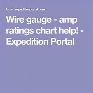 Wire Gauge - Amp Ratings Chart Help