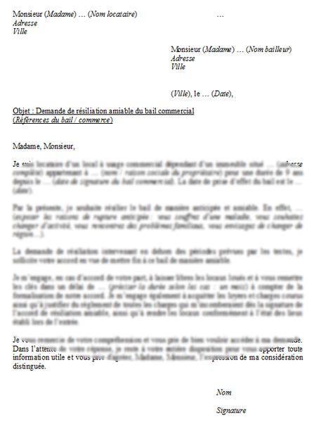 bail de bureau mod e lettre de résiliation d 39 un bail commercial la lettre modèle