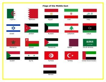 flags of the middle east matching by the tinkering shop tpt
