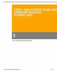 Free 1999 Dodge Ram 2500 Owners Manual Download By
