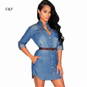 New 2015 women denim dress casual t shirt dresses sexy club mini dress Medium Sleeve Turndown ...