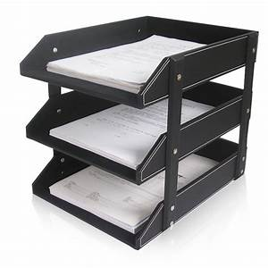 3 layer leather office file document tray case rack desk With document rack
