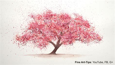 How To Paint A Cherry Tree In Watercolor Splatter