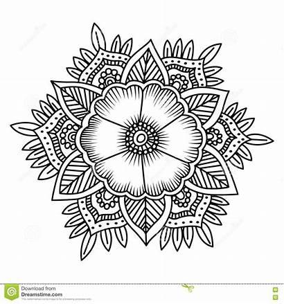 Vector Mandala Coloring Flower Doodle Pages Petal