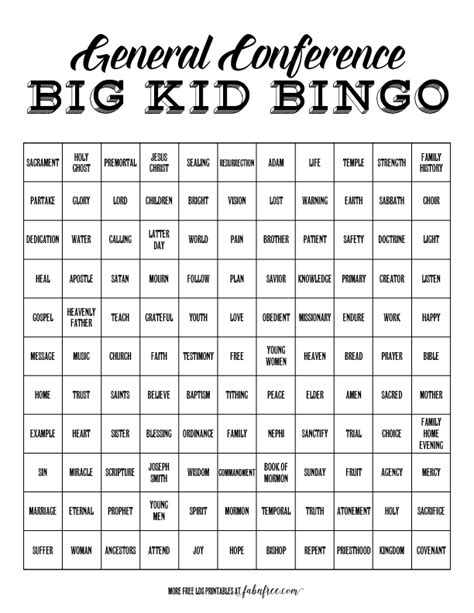 big kids general conference bingo fab
