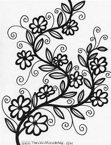 Free coloring pages of pretty hearts and flowers