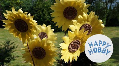sonnenblume basteln aus papier koernern und zweig sommer