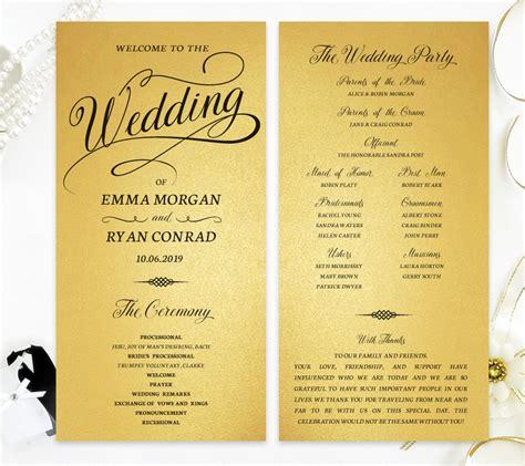 Gold Paper Wedding Programs - LemonWedding