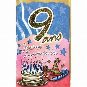 Carte Anniversaire Fille 9 Ans : carte joyeux anniversaire 9 ans m ga f te ~ Melissatoandfro.com Idées de Décoration
