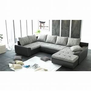 Canapé D Angle 6 Places : canap d 39 angle panoramique 6 places joya gris et noir pu achat vente canap sofa divan ~ Teatrodelosmanantiales.com Idées de Décoration