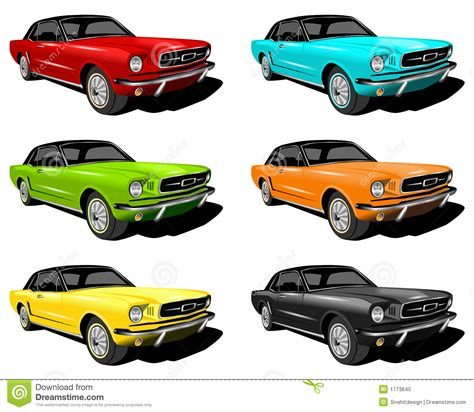 Different Colored Mustangs Stock Illustration