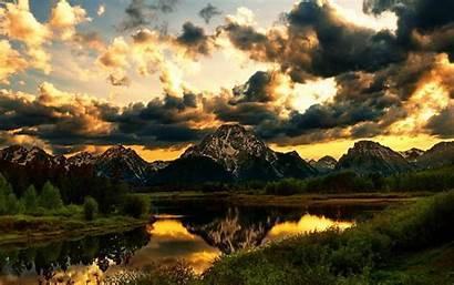 Mountain Clouds Mountains Sunset Nature Lake Beauty