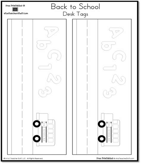 nameplate template free back to school nameplates desk tags a to z stuff printable pages and worksheets