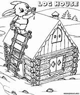 Log Coloring Pages Cabin Drawing Colorings Getdrawings Building sketch template
