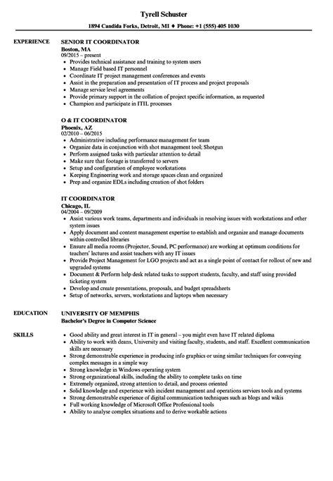 Coordinator Resume by It Coordinator Resume Sles Velvet
