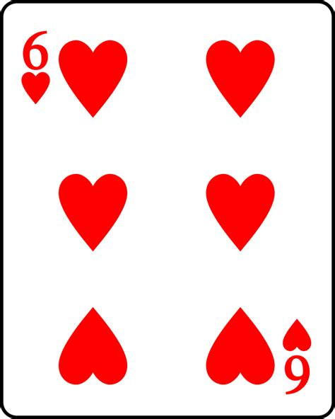 hearts card file playing card heart 6 svg wikimedia commons