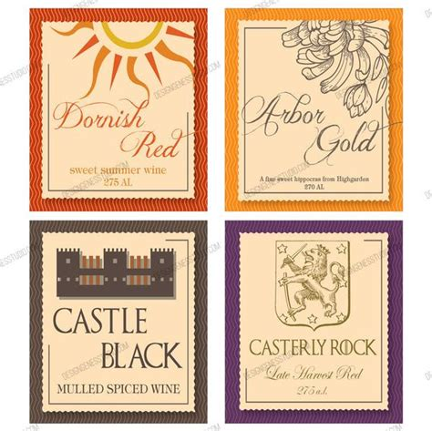 printable  party wine labels  game  thrones party