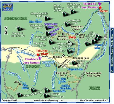 telluride atv jeeping trails map  colorado vacation