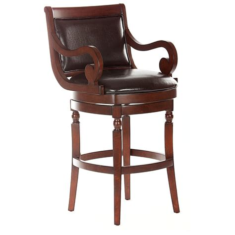 furniture brown wooden counter height stool with arm and