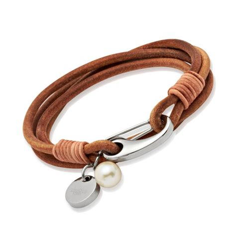 Woman's Natural Leather Bracelet & Pearl [*Un_B67NA] - £24
