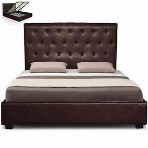 Tete De Lit Moderne : lit capitonn marron simili reva couchage 140 x 190 cm ~ Preciouscoupons.com Idées de Décoration
