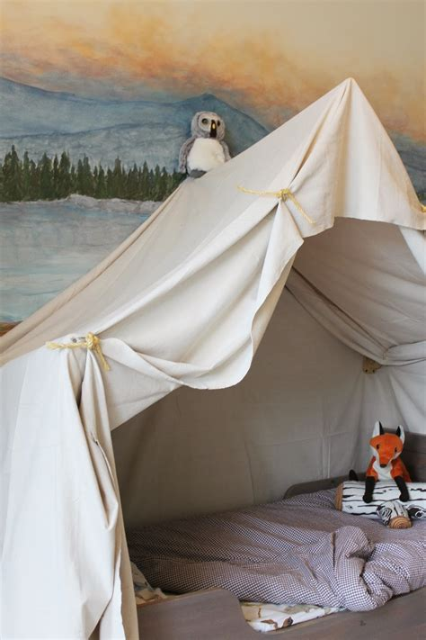 Toddler Bed Tent Canopy by Remodelaholic Cing Tent Bed In A Kid S Woodland Bedroom