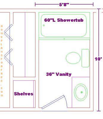 "Free Bathroom Plan Design Ideas  Bathroom Design 5'8""x10"