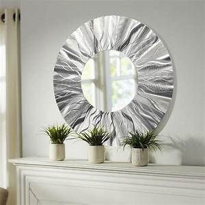 Handmade round modern metal wall art contemporary mirror