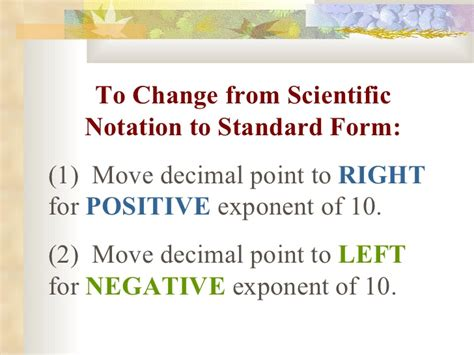 how to go from scientific notation to standard form scientific notation powerpoint