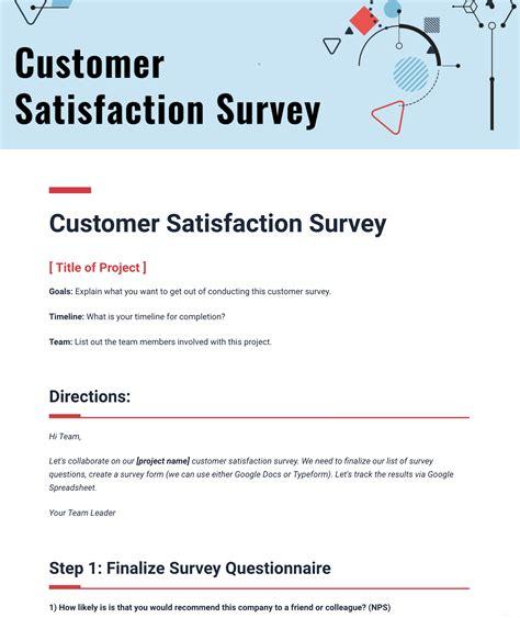 customer satisfaction survey template bitai document