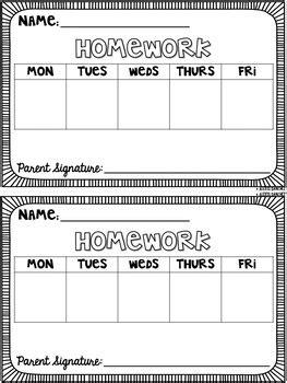 editable weekly homework template  laugh eat learn tpt