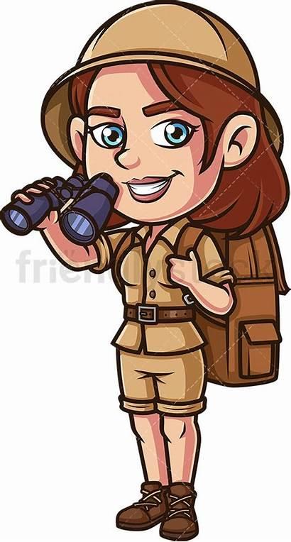 Binoculars Cartoon Safari Explorer Clipart Friendlystock Female