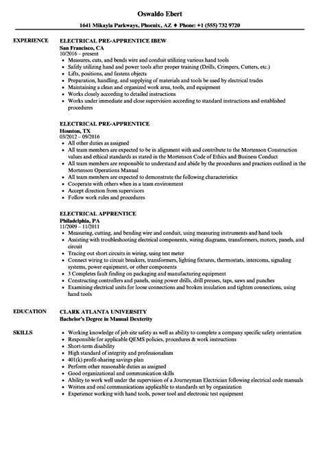 electrical apprentice resume sle oursearchworld