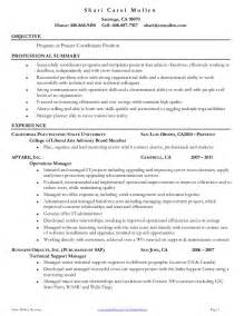 planner resume objective project coordinator resume