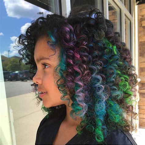 Colorful Hair Like Rainbow Hair On Curly Hair Or Is It
