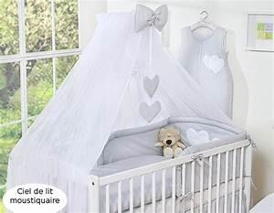 Ciel De Lit Bébé Moustiquaire : ciel de lit b b en moustiquaire grand format gris coeurs ~ Teatrodelosmanantiales.com Idées de Décoration