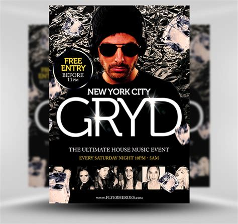 Gryd Free Dj Flyer Template  Flyerheroes. Old Concert Posters. Milestone Chalkboard Template. Generic Bill Of Sale Template. Family Reunion Invitations. College Graduation Cords Meaning. Blank Ticket Stub. High School Report Card Template. Merry Christmas Facebook Banner