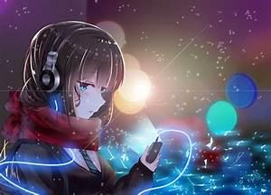 Beautiful, Anime, Girl, With, Headphones, Wallpaper