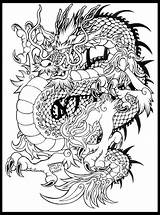 Coloring Dragon Tattoo Razor Whip Japanese Chinese Tattoos Adult Furry 90s Dragons Template Cartoon sketch template