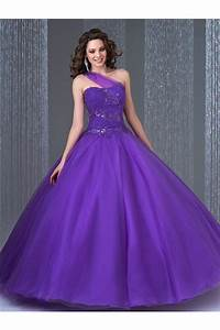 Elegant Ball Gown One Shoulder Purple Tulle Sequin ...