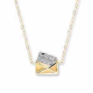 jared young teen love letter necklace 14k yellow gold With love letter necklace