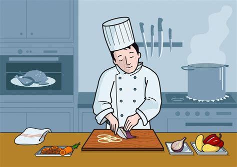 el cocinero corta la cebolla  el cuchillo soyvisual