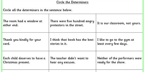 circle the determiners ks2 spag test practice classroom