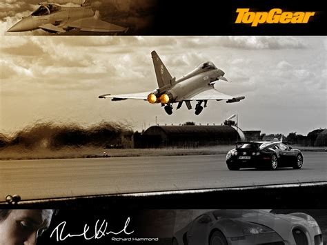 A top gear episode where richard hammond takes the bugatti veyron for a ride aganst the euro fighter. Top Gear Veyron Vs Eurofighter by BlaydeXi on DeviantArt