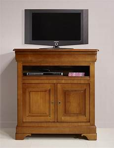 Meuble Tv Bois Massif Moderne : meuble tv 2 portes le en merisier massif de style louis philippe meuble en merisier massif ~ Teatrodelosmanantiales.com Idées de Décoration