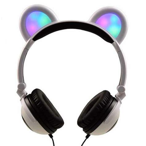 headphones with light up cat ears skusky dj style light up cat headphones