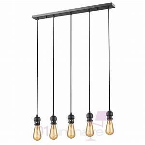 Suspension Ampoule Vintage : suspension oros noir mat barre 5 lumi res ampoule e27 592660 market set ~ Teatrodelosmanantiales.com Idées de Décoration
